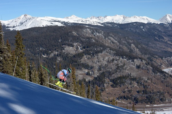 Steve Nyman (USA) on the downhill training course at the US Ski Team Speed Center at Copper Mountain.