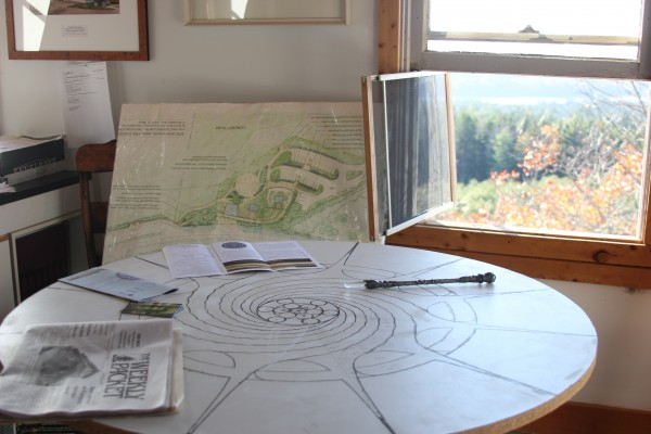 A 10-acre lot, with a spectacular view is for sale in Sedgwick. The nonprofit, Caterpillar Hill Initiative, is hoping to raise enough money to buy the property, protect it from commercial development and build an amphitheater for concerts and presentations. Pictured here is a model for the amphitheater, designed by architect Nielsen van Diijn.