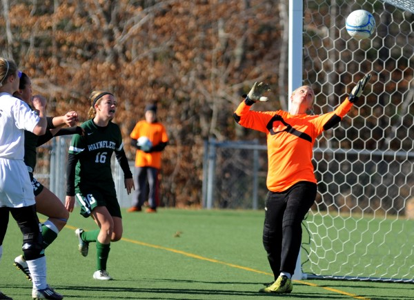 Orono goalkeeper Victoria Goodwin misses a shot by Waynflete giving Waynflete a 3-2 victory in double overtime in the girls Class C State Championship game on Saturday in Hampden.