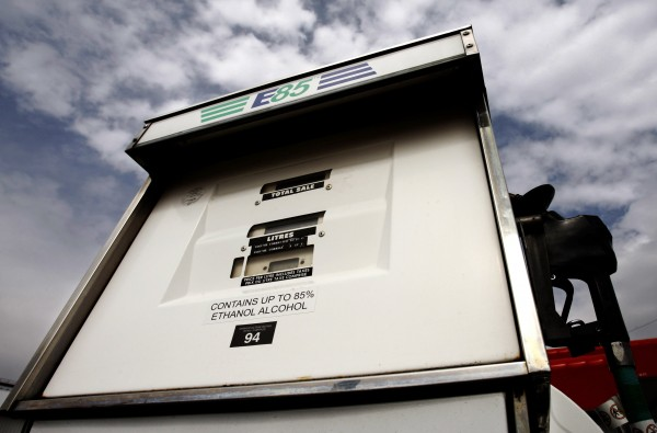 An E85 fuel pump fuel, which consists of 85% ethanol, is seen at a UPI Energy gas station in Chatham, Ontario, in this April 11, 2008 file photo.