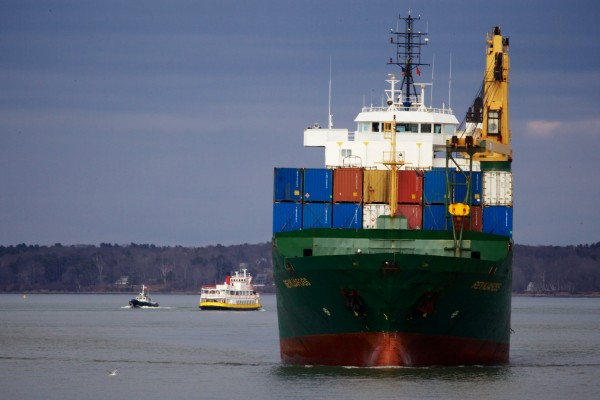 The container ship Reykjafoss makes its way through Portland Harbor in March en route to the International Marine Terminal.