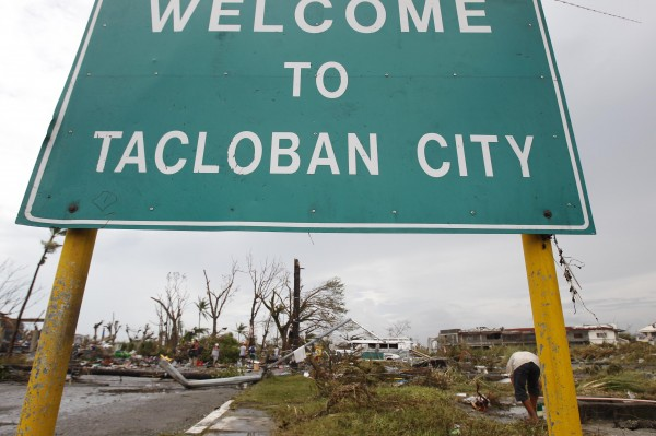 A welcome sign is seen at the entrance of battered Tacloban city after Typhoon Haiyan hit the central Philippines on Friday.