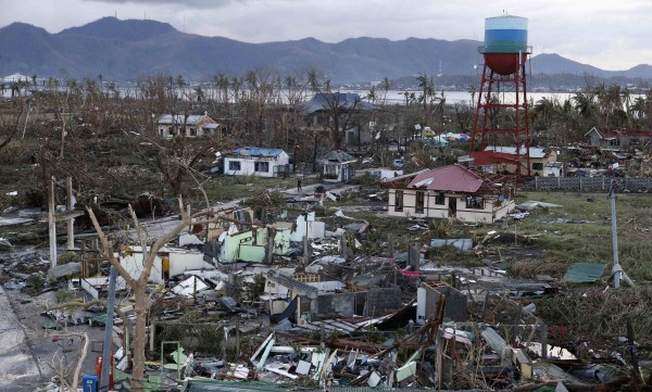 A view of destroyed houses Saturday after Typhoon Haiyan battered Tacloban city in central Philippines on Friday.