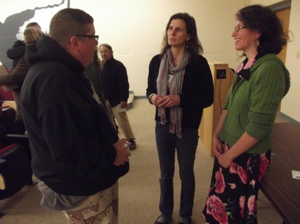 From left to right, Lori Mellerup of East Machias speaks with Esther Attean, co-director of Maine-Wabanaki-REACH, and Heather Martin, executive director of the Maine Wabanaki-State Child Welfare Truth & Reconciliation Commission, at an educational program sponsored by REACH and the commission at the University of Maine-Machias on Nov. 7.