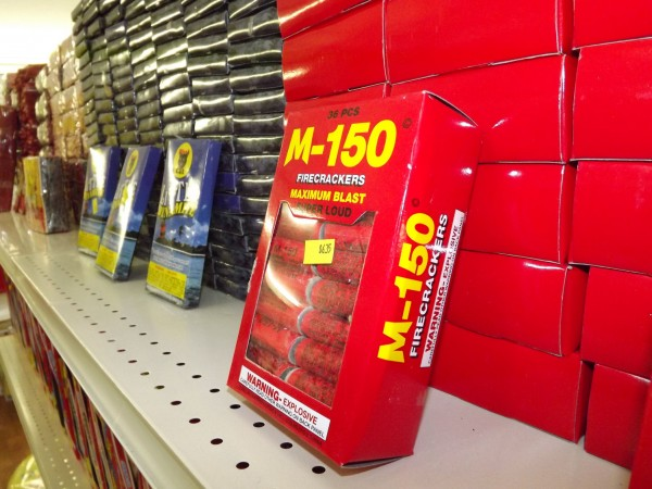 A box of M-150 firecrackers stands next to hundreds of boxes of fireworks at Pyro City in Manchester on Feb. 28, 2012.
