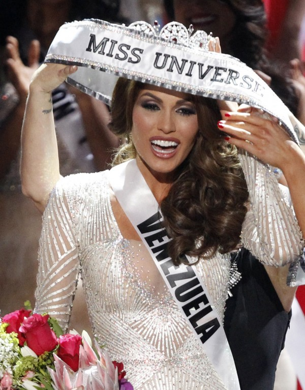 Miss Venezuela Gabriela Isler reacts as she is given the winner's sash after winning the Miss Universe pageant at the Crocus City Hall in Moscow Nov. 9, 2013.