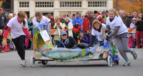 Although the MDI Biological Lab's Eel Grass Chariot struggled with technical difficulties, the team won bragging rights just like the other teams during the sixth annual Bed Races in Bar Harbor Saturday morning.