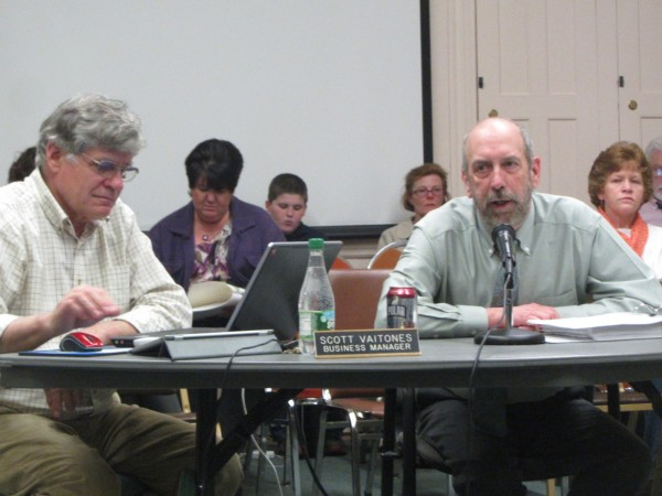 Regional School Unit 13 Superintendent Lew Collins, right, unveiled his proposed 2013-14 budget on April 1, 2013. Business Manager Scott Vaitones, left, offered details on the proposal. Vaitones was put on paid leave Nov. 14 by the superintendent.