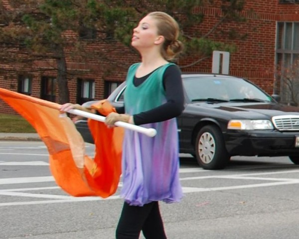 Elizabeth Small marches in the Veterans Day parade in South Portland on Monday, Nov. 11. On Thanksgiving, she will join about 40 dancers as part of the Macy's Great American Marching Band in New York City.