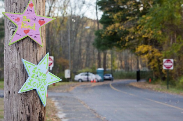 Stars are seen on a tree in front of the gates leading to Sandy Hook Elementary School in Newtown, Conn., recently.