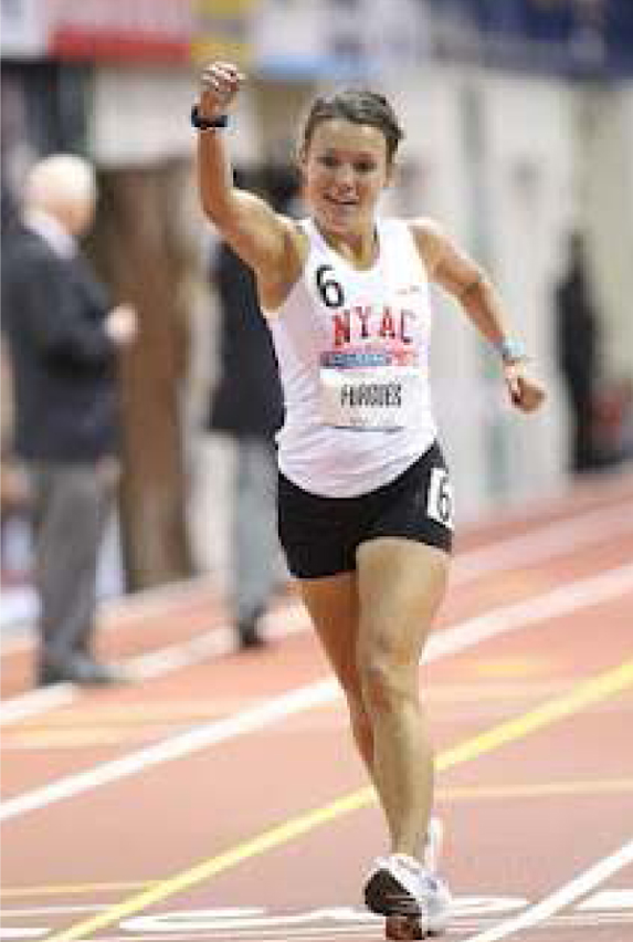 Lauren Forgues wins the Millrose Games 1-mile racewalking title in 2012.