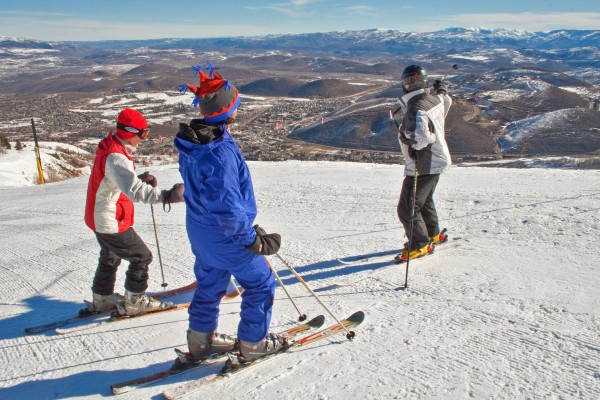 March skiing with snow on the peaks and none in town, Park City, Utah.
