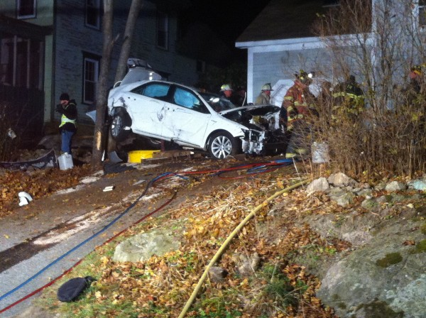 The white passenger vehicle involved in the fatal accident in Bath on Wednesday night.