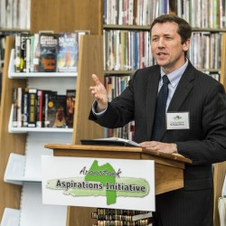 "Former Maine Commissioner of Education Stephen Bowen called the Aroostook Aspirations Initiative a ""model for the state"" when he addressed a launch ceremony at the Mark and Emily Turner Memorial Library in Presque Isle in April."