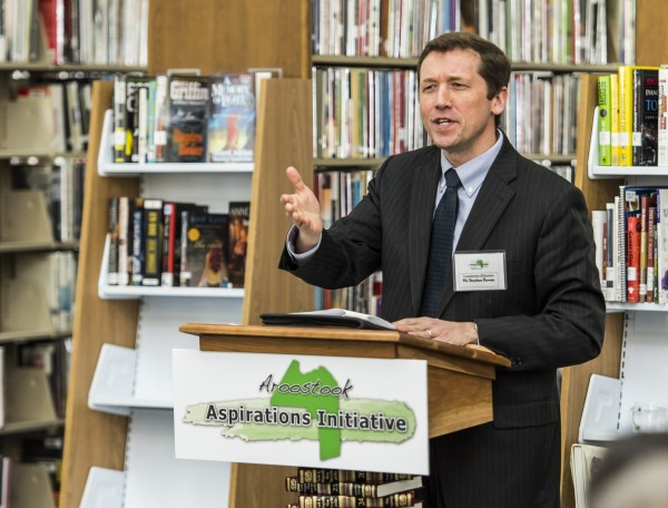 Former Maine Commissioner of Education Stephen Bowen called the Aroostook Aspirations Initiative a &quotmodel for the state&quot when he addressed a launch ceremony at the Mark and Emily Turner Memorial Library in Presque Isle in April.