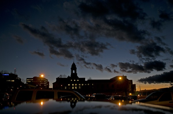 City Hall is seen at dusk, Monday, Nov. 18, 2013, in Portland, Maine.