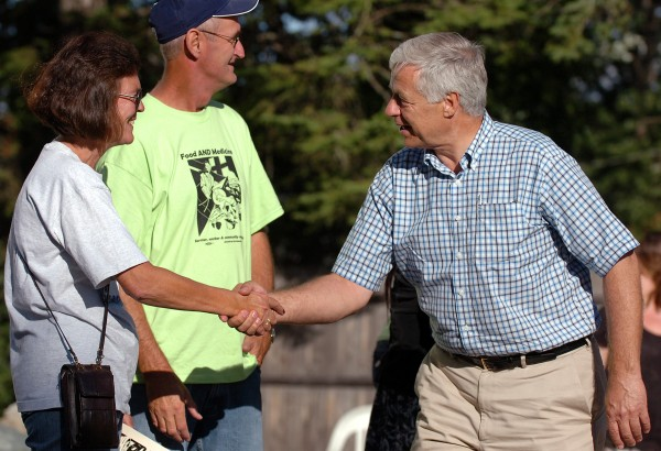 Rep. Mike Michaud greets supporters at the Food AND Medicine and Eastern Maine Labor Council's Labor Day Celebration in 2010.