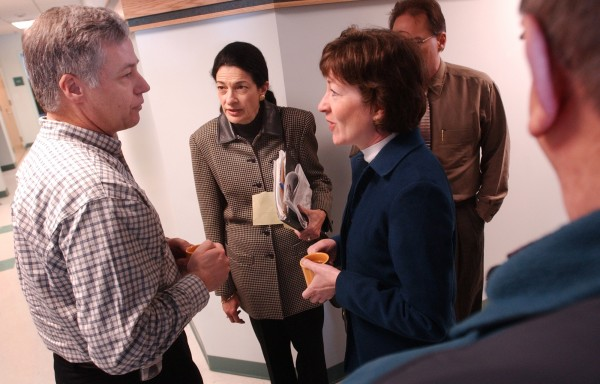 Before a meeting at Katahdin Area Technical School in East Millinocket, Rep. Mike Michaud (from left), U.S. Sens. Olympia Snowe and Susan Collins talk the bankrupcy of Great Northern Paper Inc. in 2004.
