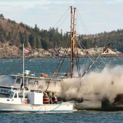 Sunken barge salvaged in Bar Harbor