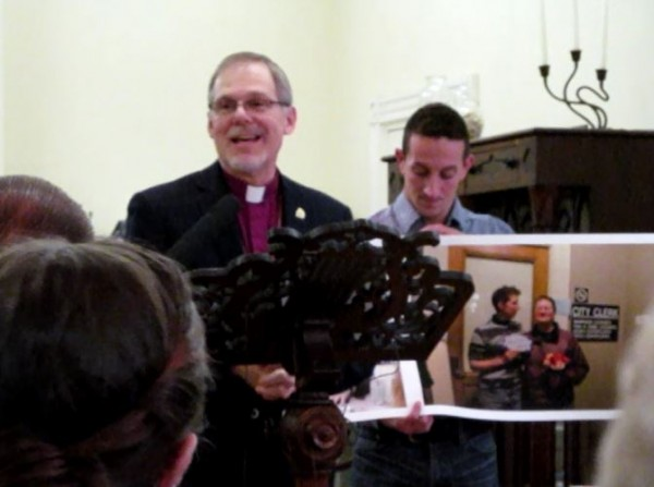 Bishop Stephen T. Lane of the Episcopal Diocese of Maine speaks at an EqualityMaine event in Portland on Wedensday.