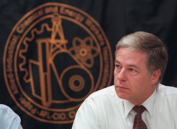 Senate President Mike Michaud listens to millworkers at a meeting in 2001.