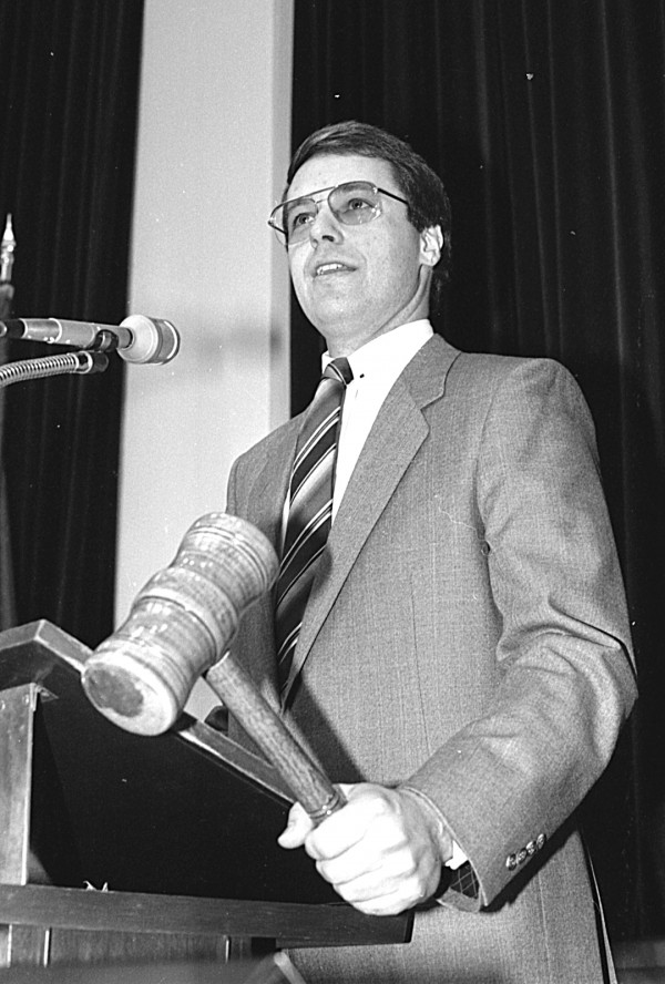 Mike Michaud speaks in Augusta in 1987.