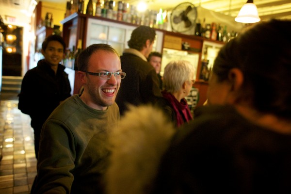 Newly elected City Councilor Joshua Plourde celebrates at Nocturnem Draft Haus on Tuesday evening.