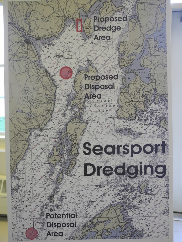 Opponents of a U.S. Army Corps of Engineers dredging project used this chart to show the proposed dredging and dumping sites Wednesday morning at a press conference at the Belfast Boathouse.
