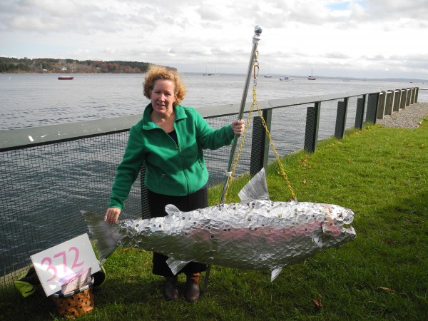 Sally Jones of Bangor brought her silver salmon to the Wednesday press conference held by opponents of a major dredging project. &quotWe need to be mindful of all the creatures we share Penobscot Bay with,&quot she said.