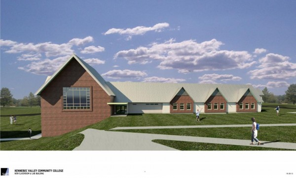 Kennebec Valley Community College broke ground on a new classroom and laboratory building at its Hinckley campus on Wednesday. This is an artist's conception of the new structure.