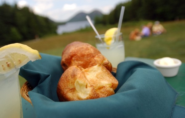 Fresh, hot popovers are the food of choice at the Jordan Pond House in Acadia National Park.