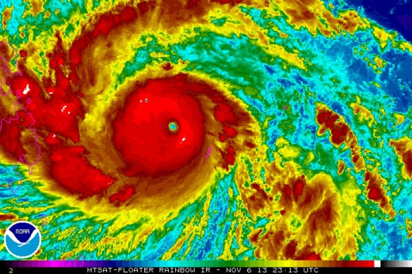 Typhoon Haiyan is pictured in this NOAA satellite handout image taken Nov. 6. The Philippines evacuated coastal areas and put emergency workers on alert as the storm expected to grow into a super typhoon headed towards the central islands.