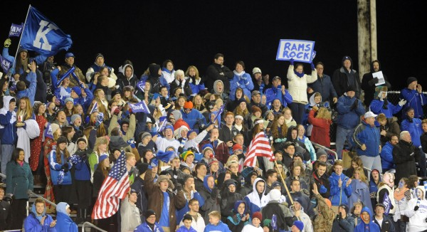 Kennebunk football fans celebrate their team scoring first against Cony at Orono during the Class B state championship game on Friday.