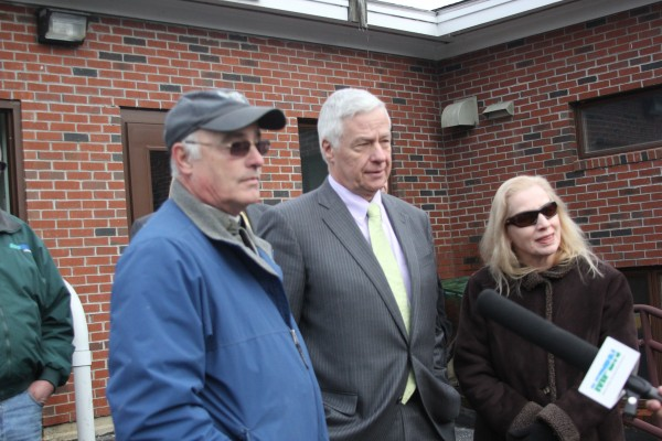 After the announcement of the $10.5 million grant and loan package, U.S. Rep. Mike Michaud and USDA state rural development director Virginia Manuel took a tour of the Bucksport wastewater treatment facility from Mike Jackson, the operator of the plant.