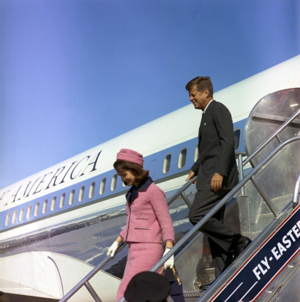 President John F. Kennedy and first lady Jacqueline Kennedy descend the stairs from Air Force One after arriving at Love Field in Dallas,Texas, on Nov. 22, 1963. Friday will mark the 50th anniversary of the assassination of President Kennedy.