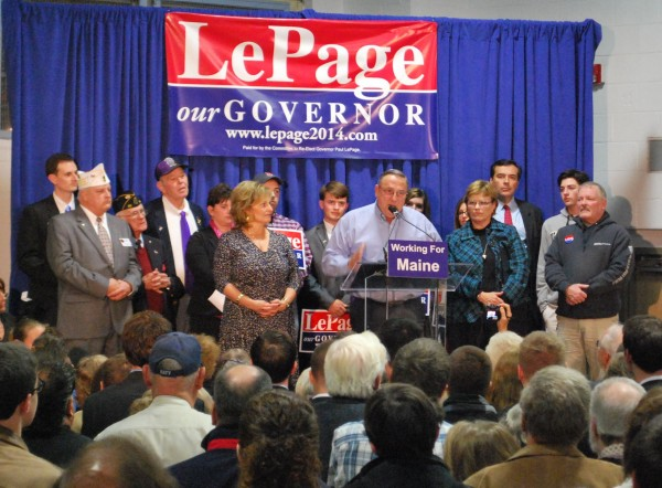 Gov. LePage speaks with supporters at the Buker Community Center in Augusta, where he formally announced his 2014 reelection campaign.