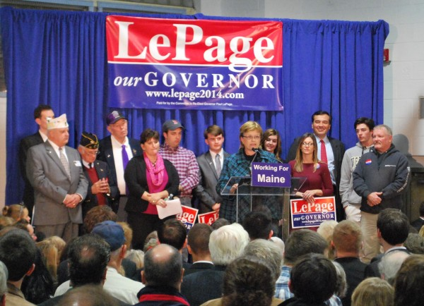 Cyndi Robbins, a Democrat who supported Rep. Mike Michaud in his last two congressional campaigns, was one of the three people who introduced Gov. Paul LePage. Robbins said LePage was the best candidate for governor because he understood the needs of small businesses. Michaud is also running for governor in 2014.