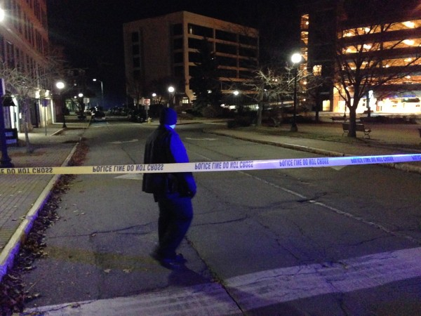 Bangor police mark off an area in Pickering Square on Wednesday night after a report of a bomb threat.