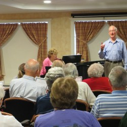 Obie Clifford, 81, after starting voice lessons in his 70s, now volunteers to sing concerts in retirement homes.  He performed in Falmouth earlier this fall.