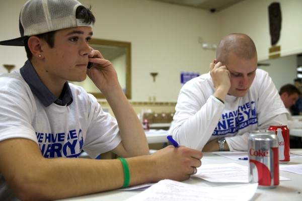 Wade Allaire (left) and Michael Carr make a few more calls to voters in South Portland Tuesday night to try and defeat the proposed waterfront protection ordinance. Carr estimated his call volume on Tuesday to be, &quot70 kajillion.&quot