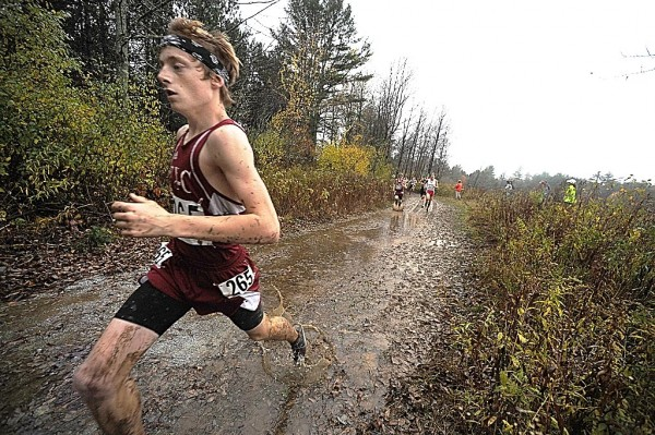 Ellsworth High School's Dan Curts, shown during the Eastern Maine Boys' Class B cross country championship in Belfast last year, ran to his second straight Class B cross country individual crown Saturday in Cumberland.