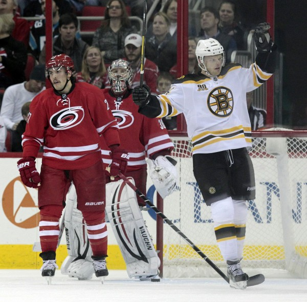Carl Soderberg (34) of the Boston Bruins celebrates his goal during the first period against the Carolina Hurricanes at PNC Arena in Raleigh, N.C., on Monday.