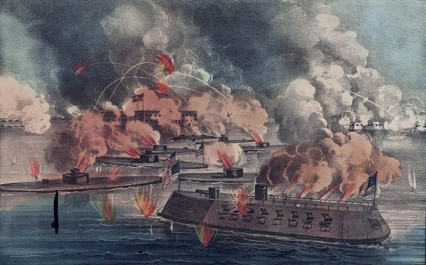 A colorful lithograph published in spring 1863 depicts the April 7, 1863 attack by U.S. Navy ironclads on Fort Sumter, a Confederate-held post locking Union warships from sailing deeper into Charleston Harbor. The largest warship is the USS New Ironsides, among the larger ironclads built for the Navy during the Civil War.