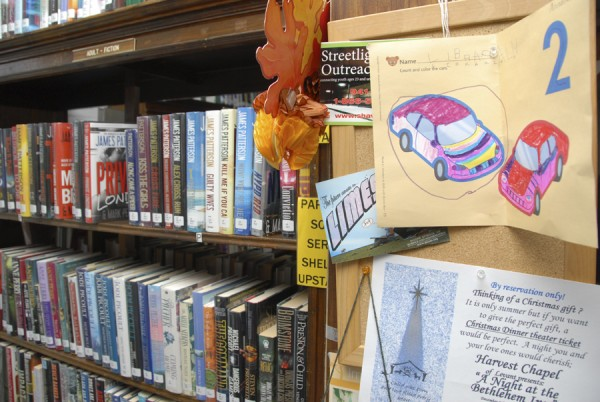 A child's artwork decorates the book shelves at the Simpson Memorial Library in Carmel.