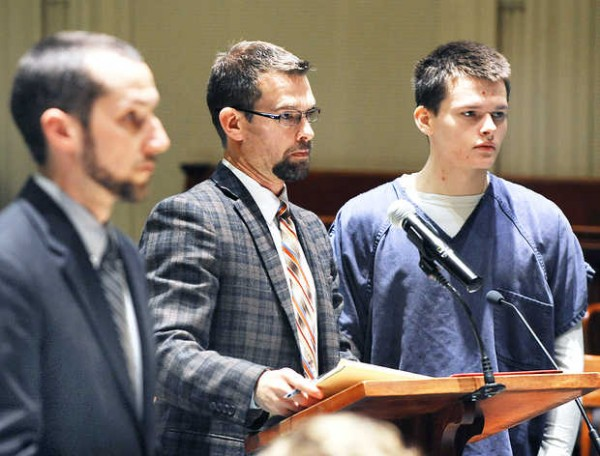 Bryan Peabody, right, his attorney Jason Ranger, middle, and Assistant District Attorney Andrew Matulis listen to Justice MaryGay Kennedy outline the charges against Peabody in Androscoggin County Superior Court Wednesday morning.