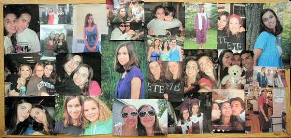 A collection of photos of Brooke Locke and her friends was set up in the chorus room at EL Wednesday night during a vigil to remember the 2010 EL graduate and Husson student who was murdered.