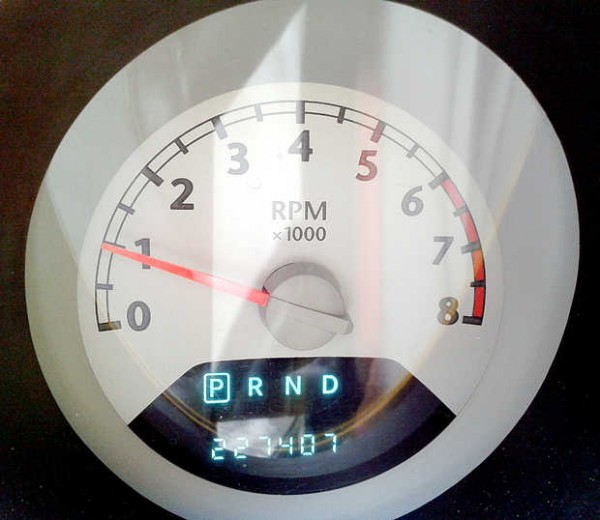An odometer shot on Dolores Gaboury's &quotTweedy bird.&quot She's hoping to make it to 300,000 miles.