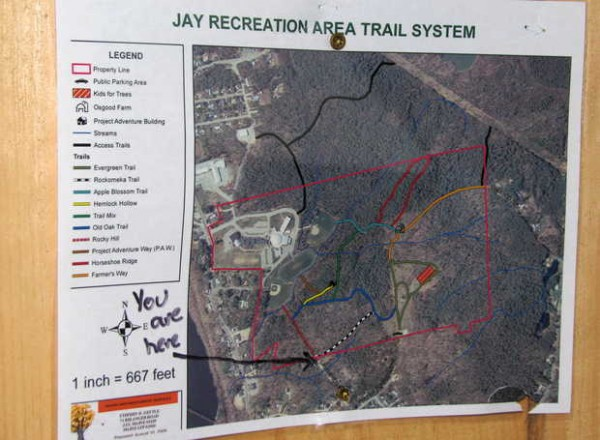 This map shows the location of trails and the new Jay Recreation Area Trails System trail-grooming equipment building that was dedicated on Saturday to Randy Easter, a beloved running, race-walking and skiing coach and educator for the Jay schools.