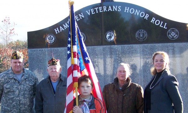 Courtesy photo Taking part in a Veterans Day ceremony at the Hampden Veterans Honor Roll where a paver for Hampden's Civil War veterans was dedicated were (from left) Terry Bean, Hampden VFW post commander; Frank Lucas, post chaplain; Andrew Barrett, Boy Scout color guard; Alice Cote, VFW Ladies Auxiliary president; and Allison Berube, VFW Ladies Auxiliary life member and coordinator of the Hampden Veteran's Honor Roll.