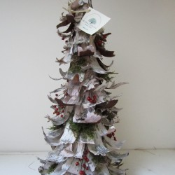 A holiday birch bark tree crafted by the Merry Elves